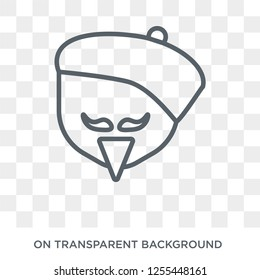 Man face with beret and goatee icon. Trendy flat vector Man face with beret and goatee icon on transparent background from People collection. High quality filled Man face with beret and goatee symbol