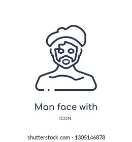 man face with beret and goatee icon from people outline collection. Thin line man face with beret and goatee icon isolated on white background.