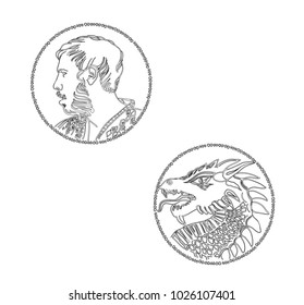 man face and dragon head sketch for ancient metallic gold bronze money stamp. outline eps8