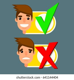 Man face with emotion and yes and no signs for check box for web or animation in flat style
