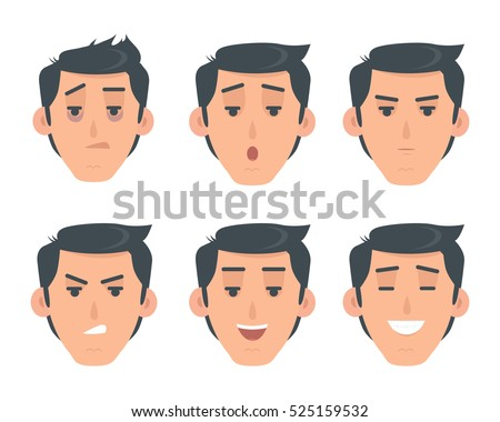 Man Face Emotive Icons Smiling Angry Stock Vector Royalty Free