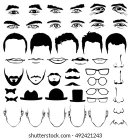 Man face eyes and noses, mustaches and glasses, hats and lips, ties and beards. Man head vector illustration elements
