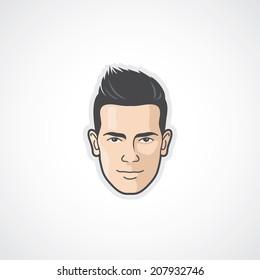 Man face - flat design - vector illustration