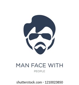 Man face with glasses and goatee icon. Trendy flat vector Man face with glasses and goatee icon on white background from People collection, vector illustration can be use for web and mobile, eps10