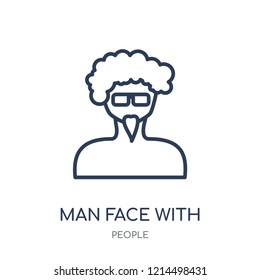 Man face with glasses and goatee icon. Man face with glasses and goatee linear symbol design from People collection. Simple outline element vector illustration on white background.