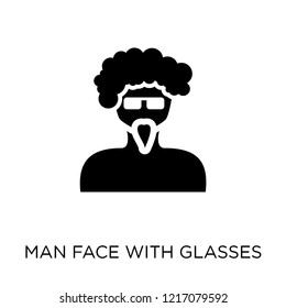 Man face with glasses and goatee icon. Man face with glasses and goatee symbol design from People collection. Simple element vector illustration on white background.