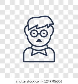Man face with glasses and goatee icon. Trendy linear Man face with glasses and goatee logo concept on transparent background from People collection