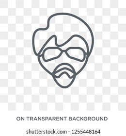 Man face with glasses and goatee icon. Trendy flat vector Man face with glasses and goatee icon on transparent background from People collection. High quality filled Man face with glasses and goatee