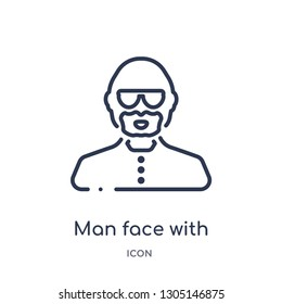 man face with glasses and goatee icon from people outline collection. Thin line man face with glasses and goatee icon isolated on white background.