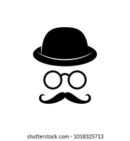 Man face with glasses, mustache and hat. Photo props. Gentleman. Detective. Vector illustration