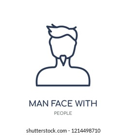Man face with goatee icon. Man face with goatee linear symbol design from People collection. Simple outline element vector illustration on white background.