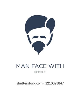 Man face with goatee icon. Trendy flat vector Man face with goatee icon on white background from People collection, vector illustration can be use for web and mobile, eps10
