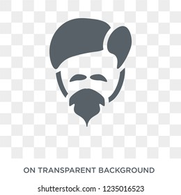 Man face with goatee icon. Trendy flat vector Man face with goatee icon on transparent background from People collection.