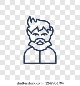 Man face with goatee icon. Trendy linear Man face with goatee logo concept on transparent background from People collection