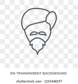 Man face with goatee icon. Trendy flat vector Man face with goatee icon on transparent background from People collection. High quality filled Man face with goatee symbol use for web and mobile