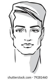 Man face. Hand drawn Fashion model. Vector illustration.