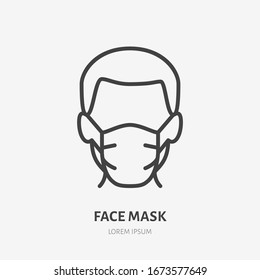 Man in face mask line icon, vector pictogram of disease prevention. Protection wear from coronavirus, air pollution, dust, flu illustration, sign for medical equipment store.