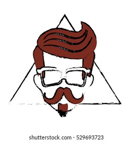 man face with mustache and glasses over triangular frame and white background. hispter style concept. colorful design. vector illustration