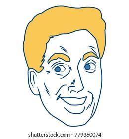 Man face pop art cartoon