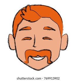 Man face smiling cartoon
