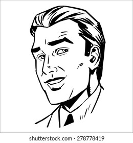 The man face smiling sketch graphics. The image of a successful businessman