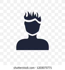 Man face with spiky hair transparent icon. Man face with spiky hair symbol design from People collection. Simple element vector illustration on transparent background.
