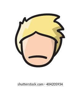 Man face vector icon hand drawn doodle illustration black lines, blond boy