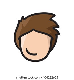 Man face vector icon hand drawn doodle illustration black lines, boy with brown hair