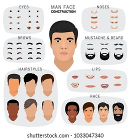 Man face constructor vector male character avatar creation head skin nose eyes with mustache and beard illustration set of facial elements construction with hairstyle isolated on white background