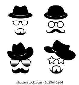 Man faces with glasses, mustache, beard, hats. Photo props collections. Retro party set. Vector illustration