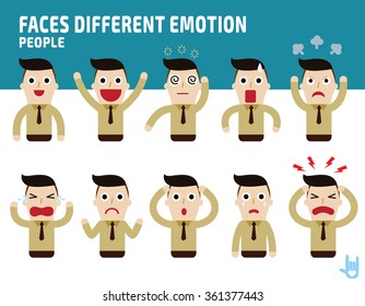 man faces showing different emotions.Illustration isolated on white background