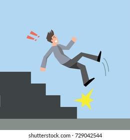 Man falling down the stairs-vector cartoon