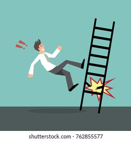 Man falling off the ladder.Concept of risk,accident,insurance-vector cartoon