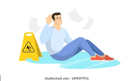 Man falling on the wet floor. Caution sign, warning slippery floor. Injury and accident. Isolated vector illustration in cartoon style