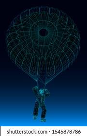 man falling in a parachute