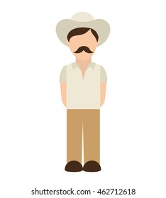 man farmer colombian coffee icon vector illustration design
