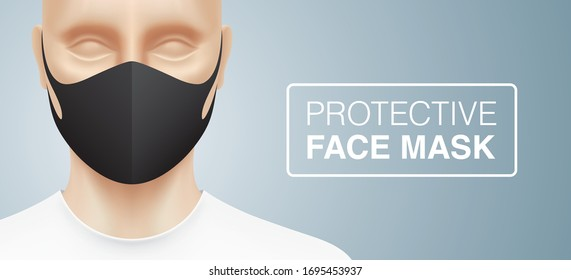 Man with a fashion black protective face mask, standing on a grey gradient background. Closeup shot of a person, with a virus protection mask on his face. Healthcare banner vector design.