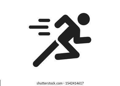 man fast run icon, rush icon vector illustration