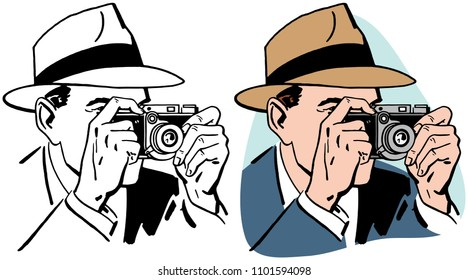 A man in a fedora takes a photo with a vintage camera.