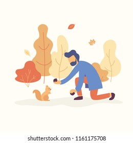 Man feeding a squirrel in the park with fall mood. Orange and yellow trees, falling leaves are on the background. Autumn concept Vector flat illustration.