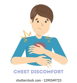 Man feel chest discomfort. Heart attack or symptoms of another disease. Idea of health danger and sickness. Isolated flat vector illustration