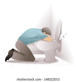 man feeling sick and vomiting in the toilet