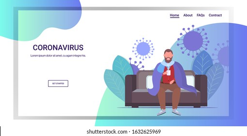 man feeling sickness epidemic MERS-CoV bacteria floating influenza virus cells wuhan coronavirus quarantine 2019-nCoV living room interior full length horizontal copy space vector illustration