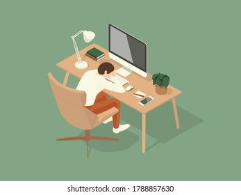 man fell asleep on the table while working. Isometric Illustration about working on the table.