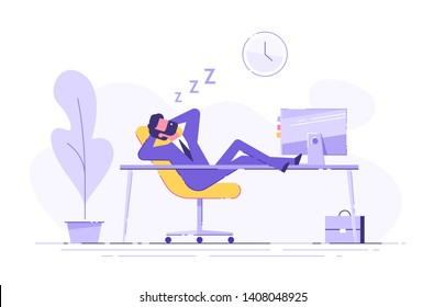 Man fell asleep at the table in the office. Work overtime. Modern vector illustration.
