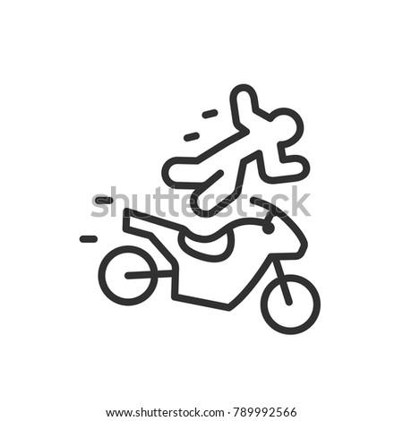 Man Fell Motorcycle Crash Linear Icon Stock Vector Royalty Free