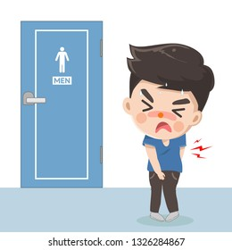 The man felt a stomach ache in front of the toilet but the that is busy causing him to suffer because she wanted to use the toilet immediately.
