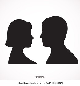 man and female profile silhouette. Couple in love, flat style. Valentine's day card. Vector illustration Icon Isolated on White Background.