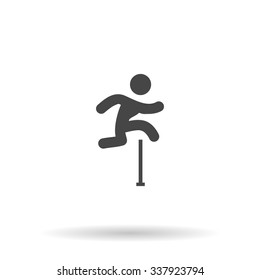 Man figure jumping over obstacles. Icon Vector
