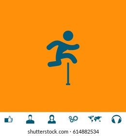 Man figure jumping over obstacles. Blue symbol icon on orange background. Vector illustration and bonus icons Thumb up, Man and Woman avatar, Gears, World map, Headphones